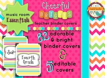 Music Room Essentials - Teacher Binder Covers in Cheerful Brights