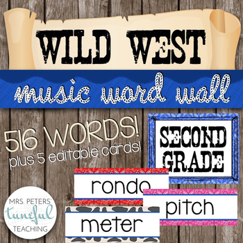Music Room Essentials - Wild West Music Word Wall