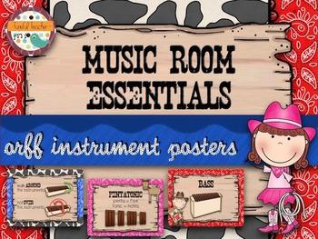 Music Room Essentials - Wild West Orff Instrument Posters