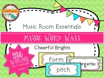Music Room Essentials - Word Wall in Cheerful Brights
