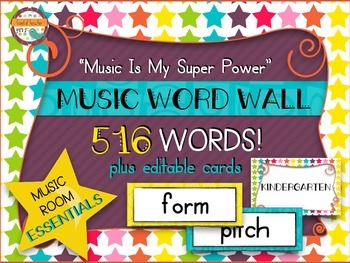 Music Room Essentials - Word Wall in Music Is My Super Power