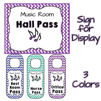 Music Room Hall Pass Door Hangers - Glitter & Chevrons