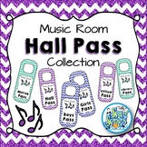 Music Room Hall Pass Door Hangers - Glitter & Chevrons