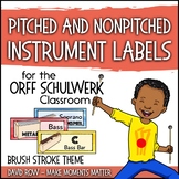 Music Room Instrument Labels, Setup, and Rules - Brush Strokes Theme