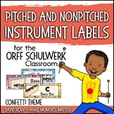 Music Room Instrument Labels, Setup, and Rules - Confetti Theme