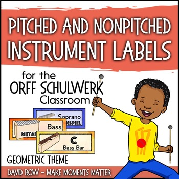Music Room Instrument Labels, Setup, and Rules - Geometric Theme
