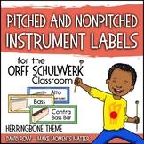 Music Room Instrument Labels, Setup, and Rules - Herringbone Theme