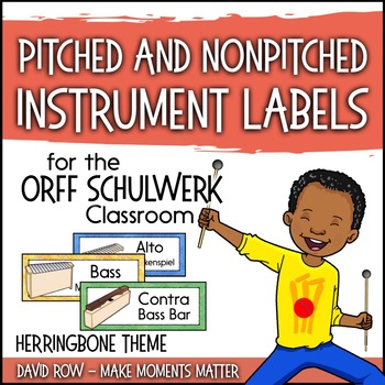 Music Room Instrument Labels, Setup, and Rules - Herringbone Theme