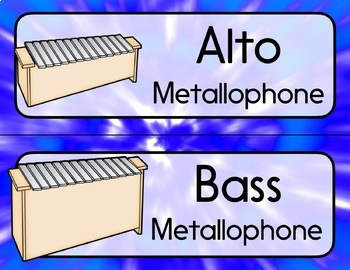 Music Room Instrument Labels, Setup, and Rules - Tie Dye Theme