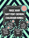 Music Room Posters Navy Mint Chevron Chalkboard Bundle
