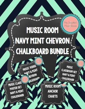 Music Room Posters Navy Mint Chevron Chalkboard Bundle