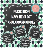 Music Room Posters Navy Mint Dot Chalkboard Bundle