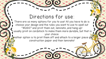 Music Room Rules- Floral/Shabby Chic Design