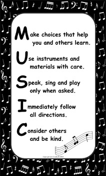 Music Room Rules Poster - Freebie!