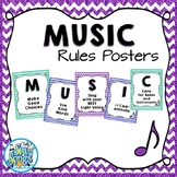 Music Room Rules Posters - Glitter & Chevrons