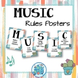 Music Room Rules Posters - Ginger & Waves