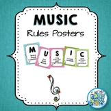 Music Room Rules Posters - Teal & Blooms