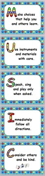 Music Room Rules Posters with MUSIC Acrostic, Large - Three Formats