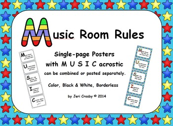 Music Room Rules Posters with MUSIC Acrostic, Large - Thre