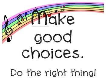 Music Room Rules for a Nature of Rainbow Themed Classroom