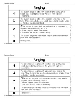 Music Rubrics -Scoring Guides and Data Tracking Tools for Music Class