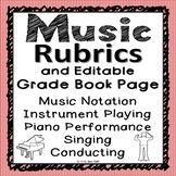 Music Rubrics and Editable Grade Book Page