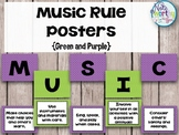Music Rule Posters Green and Purple