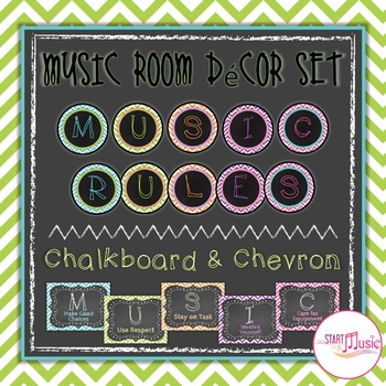 Music Room Rules - Chevron & Chalkboard Theme