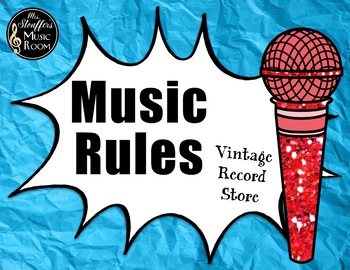 Music Rules {Editable} {Vintage Record Store} Rainbow Glitter