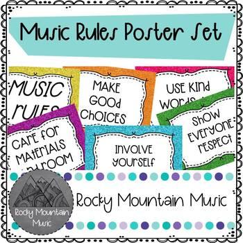 Music Rules Glitter Poster Set