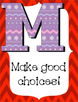 Music Rules Poster Set- Chevron and Floral Design