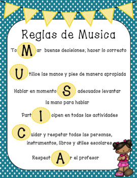Music Rules Poster in English and Spanish