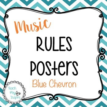 Music Rules Posters - Blue Chevron
