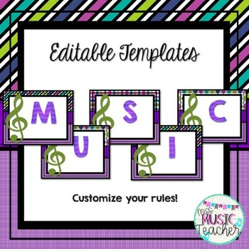Music Rules Posters (EDITABLE): Purple, Teal, Green & Blue Patterns