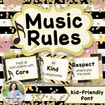 Music Rules Posters: Kid-Friendly Print Font {Chic & Glam Music Decor}