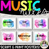 Music Rules Posters: Script & Print Font {Watercolor Music Decor}