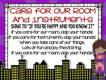 Music Rules- Posters and Songs {Superhero Music Room Set}