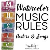 Music Rules - Posters and Songs {Watercolor Theme}