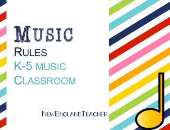 Music Rules for Elementary Music Classroom Decor or Bulletin Board Stripes