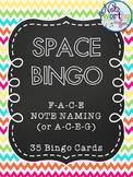 Music SPACE Bingo (F-A-C-E or A-C-E-G)