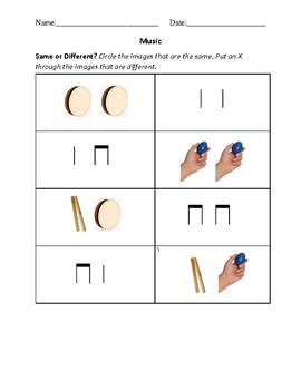 Music Same or Different Worksheet