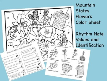 Music, Science, History:  Mountain States Flowers Color Sheet (PP and PDF)