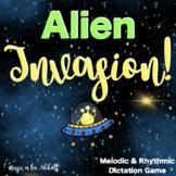 Music Set: Alien Invasion Rhythmic & Melodic Dictation Games for Google Slides