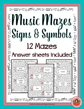 Music Signs and Symbols Maze Puzzles British Terminology