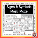 Music Games: 12 Signs and Symbols Mazes: Music Puzzles