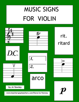 Music Signs for Violin - card game