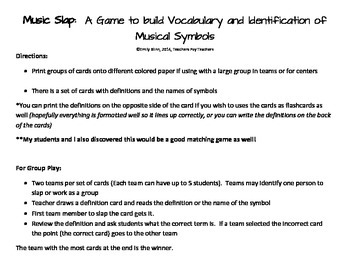 Music Slap - A game to teach vocabulary and symbol recognition