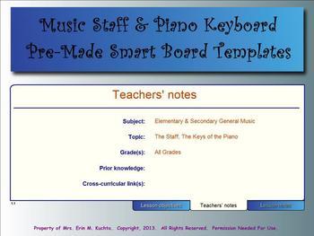 Music Smart Notebook Templates - Staff & Piano Templates (