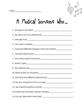 Music Someone Who - Get to Know You Activity