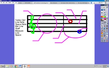 Music Staff/Notation Terms Review (Ineractive Whiteboard Activity)